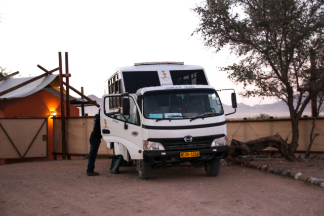 Live More, Travel More in Namibia with Chameleon Safaris - photo by Elaine Villatoro - Sossusvlei - Lodge - Desert Camp - Bus