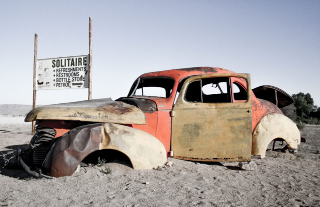 Live More, Travel More in Namibia with Chameleon Safaris - Soltaire Old Car by Elaine Villatoro