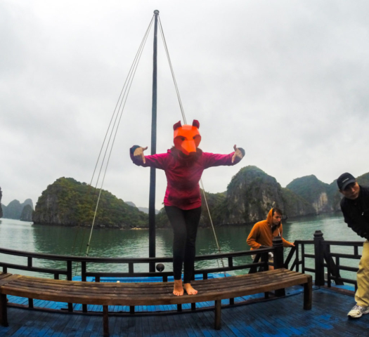 Elaine Villatoro - Live More, Travel More - Vietnam - Vietnã - Halong Bay - Castaway Islands - Vietnam Backpackers - Hanoi Backpackers - Beach - Praia - Fox Mask - Máscara Raposa