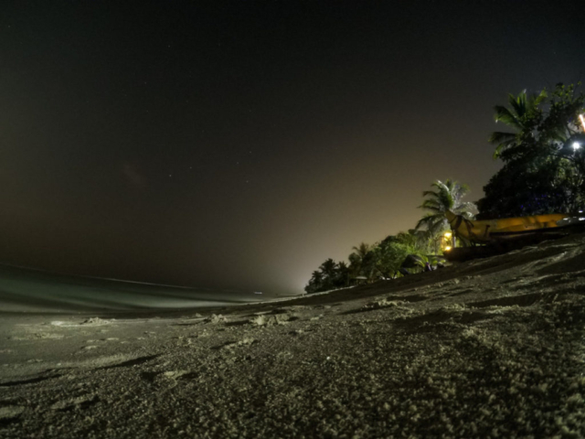 Night photo taken with a GoPro at a beach in Maldives