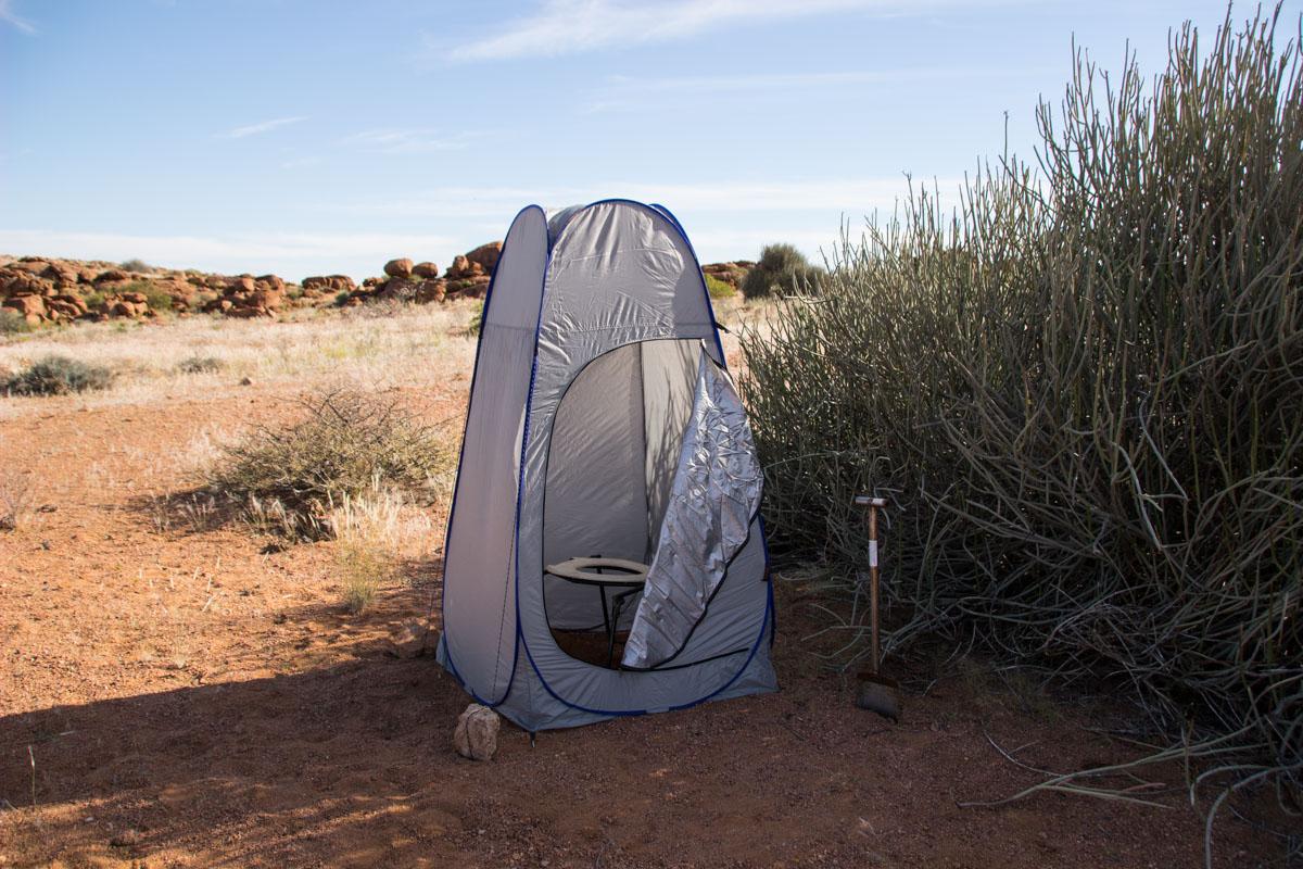 Banheiro durante o acampamento